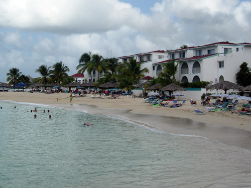 Our beach: the Flamingo Beach Resort and neighboring Pelican Beach Resort