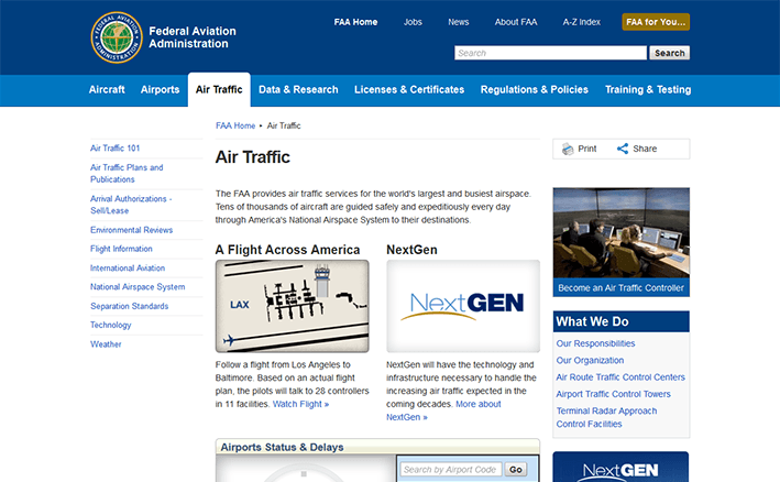 screenshot of Air Traffic page