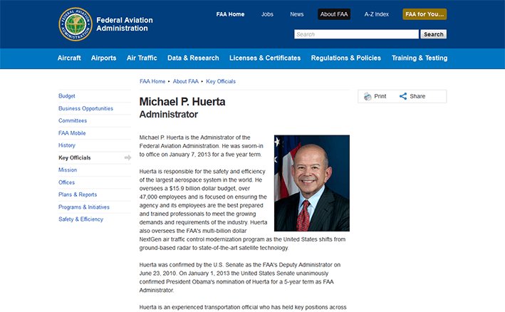 screenshot of Michael Huerta biography page