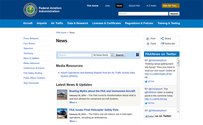 screenshot of News page