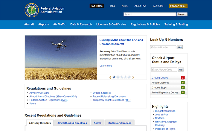 screenshot of www.faa.gov