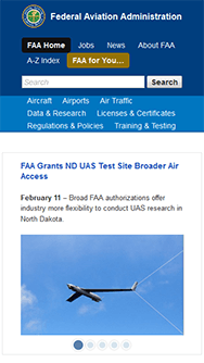 FAA.gov, mobile screenshot